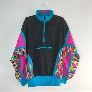 VTG Windbreaker Half Zip 80's 90's Pink Black M